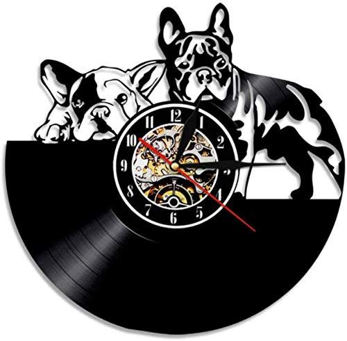 Vinyl Wall Clock Record French Bulldog Couple Art Home Decor Vinyl Modern Puppy Dog Dog Breed Dog Owners Gift