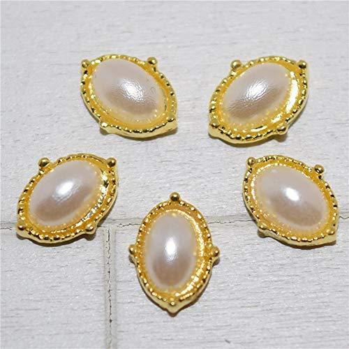 10pcs New Golden perle Oeil de cheval 3D Nail Art décos, breloques en alliage ongles, ongles Strass Nail Supplies