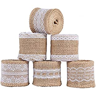 ss shovan 6Pcs Natural Burlap Craft Ribbon Roll with White Lace 5CM x 2M for DIY Handmade Wedding Crafts Decorations Lace Linen Gift Wrap Floral Arrangements