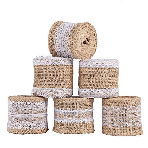 6Pcs natural de arpillera artesanía cinta rollo con encaje blanco 5CM x 2M para DIY hecho a mano artesanías de boda decoraciones encaje de lino regalo arreglos florales por ss shovan