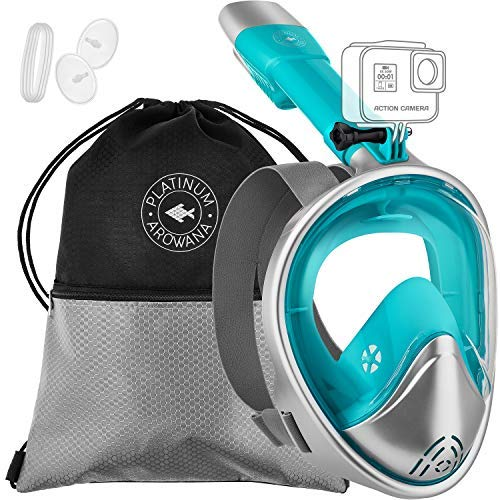 Full Face Snorkel Mask for Woman and Men Panoramic View and Curved Face Design 180 Degree Viewing Anti Fog Leak Proof Tubeless Scuba Mask Gear Easy Breath Dry Top Water Blocking System Technology