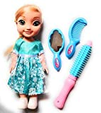 AdiChai Multi Coloured Snow Sister Doll Toy with Makeup Accessories Straightener, Hair Comb and Mirror Play Set for Baby Girl