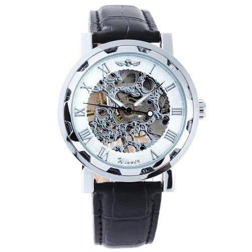 Winner OrrOrr - reloj de pulsera - reloj automático - cuero reloj - plata & negro