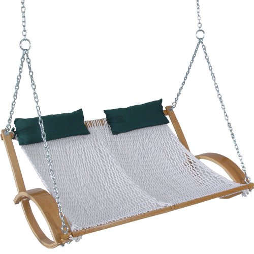 Original Pawleys Island Curved Arm Double Rope Swing, Handcrafted in The USA, Constructed of Polyester Rope, Oak Frame and Zinc Plated Hardware