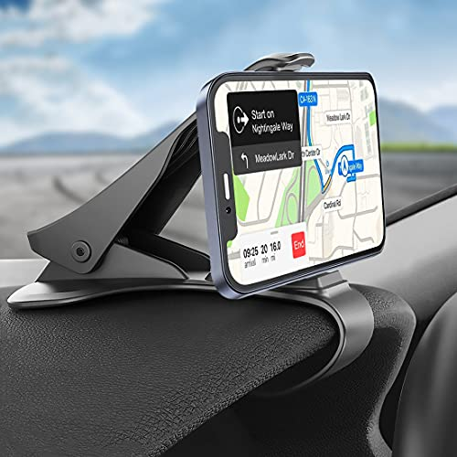 Phone Holder for Car, Hzrfun Cell Phone Holder for Car Dashboard Clip Non-Slip Durable Compatible for iPhone 12 11 Pro Max XS XR X 8+ 7+ SE 6s 6+ 5s 4 Samsung Galaxy S20 S10 and More (3.0-6.5inch)
