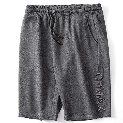 XJOE Pantalones cortos casuales cómodos sueltos con cordón bolsillos cintura elástica pantalones cortos de algodón - gris - Large