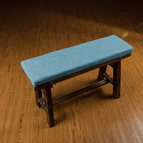 AISHANG Cojín Largo para Banco de jardín, cojín Suave para sofá, para Muebles de Interior, con Lazos para Silla de Patio, Columpio de Oficina, Viaje, 2 o 3 plazas (Azul, 150x40x4cm)