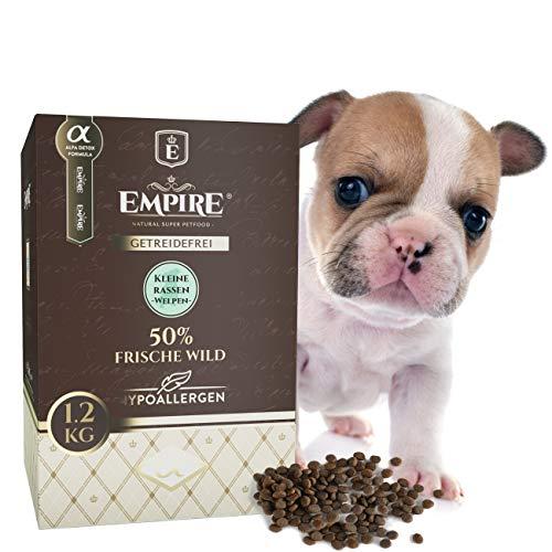Empire Welpen Trockenfutter - 1,8kg - Premium Getreidefreies Hundefutter für kleine Rassen - 50% Frisches Wildfleisch und Wildschweinleber - Hypoallergen - Glutenfrei - 100% Natürlich