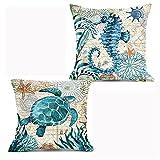 KSSTOO 2 Paquetes de Funda de Almohada de Lino de algodón con Tema de Acuario oceánico Funda de cojín de Almohada 45x45 cm, Funda Cuadrada de poliéster Decorativa para sofá Cama