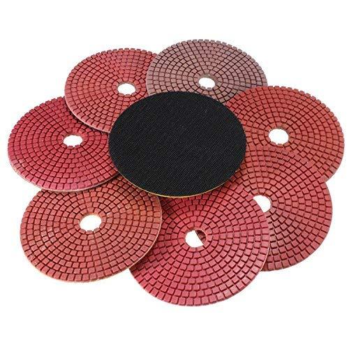 LONGWDS Cinturones de Lija 8pcs 5Inch 50-3000 Grit húmedo seco Diamante tampones for pulir Conjunto con la Herramienta de Pulido de Disco Autoadhesivo