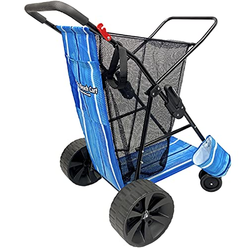 EasyGo Product Beach Cart – Heavy Duty Folding Design – Large Wheels for Sand – Holds 4 Beach Chairs – Storage Pouch – Beach Umbrella Holder – Blue