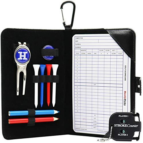 Handy Picks Golf Scorecard Holder n Yardage Book Cover in Genuine Leather - Divot Repair Tool, Ball Marker, Golf Tees, Pencil n Scorecards, Scorer Included, Gift for Golfers (Black)