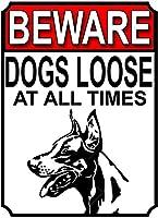 常に犬が緩んでいることに注意してください壁の金属のポスターレトロなプラークの警告ブリキの看板ヴィンテージの鉄の絵の装飾オフィスの寝室のリビングルームクラブのための面白い吊り下げ工芸品