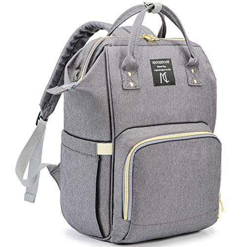 Diaper Bag Backpack, Mooedcoe 7 Gallon Spacious 15 Pockets for Easy Organizing Waterproof Travel Backpack, Maternity Nappy Baby Bag Unisex Design for Mom & Dad- Light Grey
