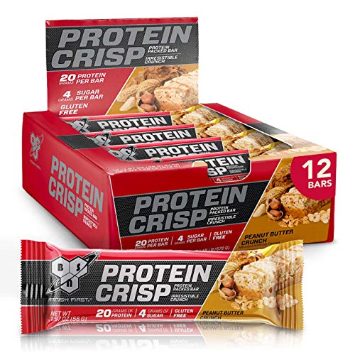 BSN Protein Bars - Protein Crisp Bar by Syntha-6, Whey Protein, 20g of Protein, Gluten Free, Low Sugar, Peanut Butter Crunch, 12 Count