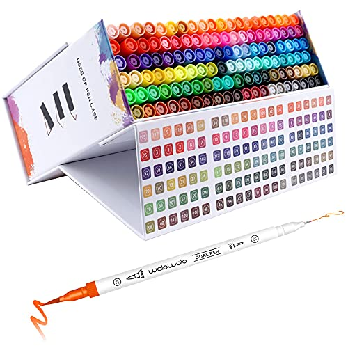 walowalo 120 Watercolor Brush Pens With Color Number Code Dual Tip Fineliner Magnetic Case Markers for Adult Coloring Books Manga Set Artist Watercolor Paper Painting Calligraphy Hand Lettering