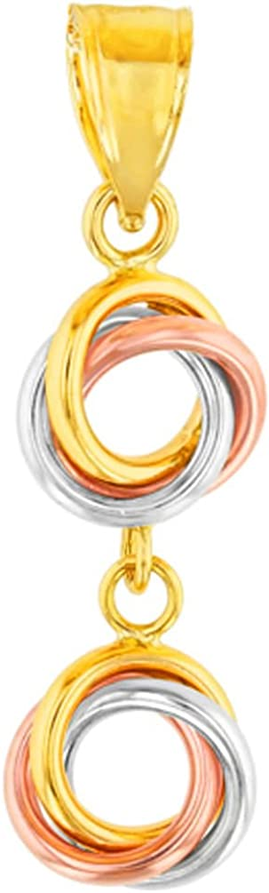 Solid 14K Tri-Color Gold Double Love Knot Charm Dangling Pendant