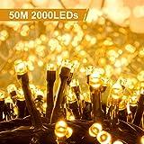 Quntis 2000LEDs 50M Lichterkette Warmweiß, Innen- und Außenbeleuchtung Strombetrieben, 8 Modi, Dekolicht für Weihnachten Garten Baum Zimmer...
