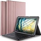 Claelech - Custodia per tastiera Huawei Mediapad M5 Lite 10.1, chiusura magnetica in pelle, con supporto e tastiera Bluetooth rimovibile senza fili per M5 Lite 10.1', colore: Oro rosa
