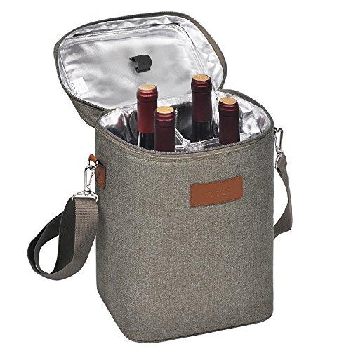 Kato Kühltasche für 4 Flaschen- Flaschenträger für Wein & Bier, gepolsterte 4 weinkühltasche mit isoliert,Griff & Schultergurt, Flaschenkorb für Reise, Picknick, Frauen/männer