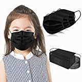 Kids Disposable Face Masks 3-Ply Protective 100 PCS Black Safety Breathable Mask Cover for Boys Girls with Adjustable Nose Clip & Elastic Ear Loop, Great for School/Kindergarten/Travel