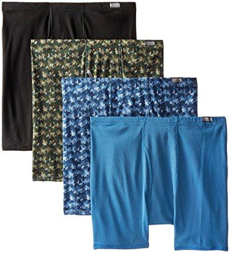 Hanes Men's 4-Pack FreshIQ Comfortsoft Boxer Briefs (Plus Size), Printed Camo,