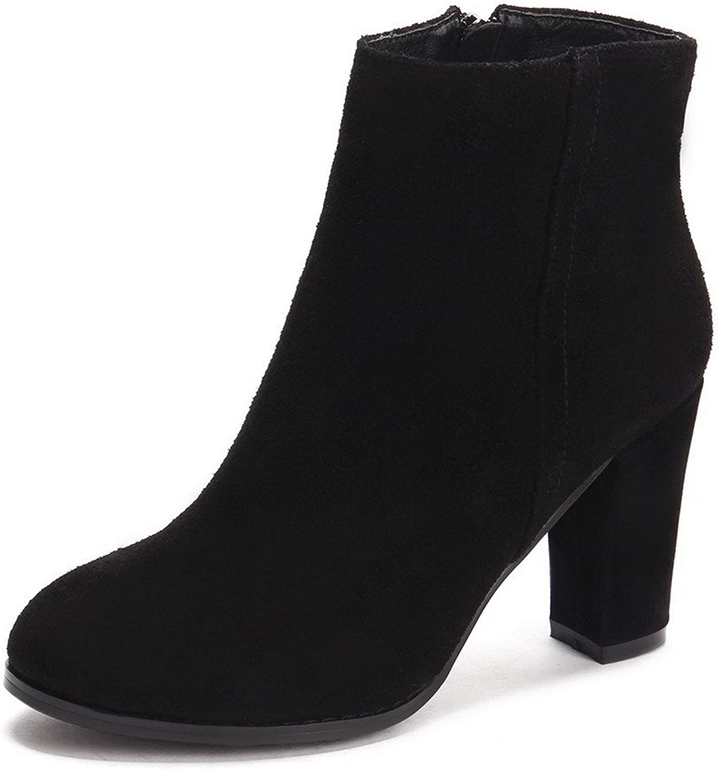 AmoonyFashion Women's Round-Toe Closed-Toe High-Heels Boots with Zippers