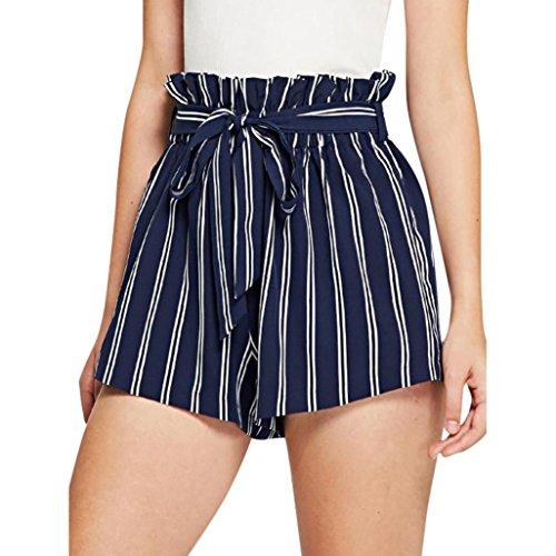 HCFKJ High Waist Shorts für Damen Teenager Mädchen Sommer für Mädchen Frauen Tasche Lose Hot Pants Retro-Streifen Casual Fit elastische Taille Tasche Shorts (S, Marine)