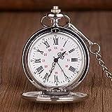 XQKQ Reloj de Bolsillo Plata Pulido Acero Liso Cuarzo Reloj de Bolsillo Ruman Número Dial Colgante Cadena Reloj Regalos