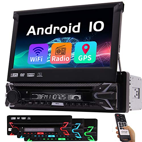 Car Radio with Bluetooth Android 10 Auto Car Stereo Single Din DVD Player GPS Navigation System 7' HD Touchscreen in Dash Audio Video Receivers WiFi MirrorLink AM/FM/USB HeadUnit+Backup Camera Input