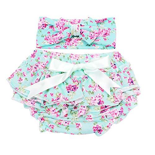 Aediea Aediea Baby Unterwäsche, Baumwoll-Höschen + Stirnband-Set mit Rüschen, Blumen, Baby Mädchen, Schleife, Slip, 2 Stück