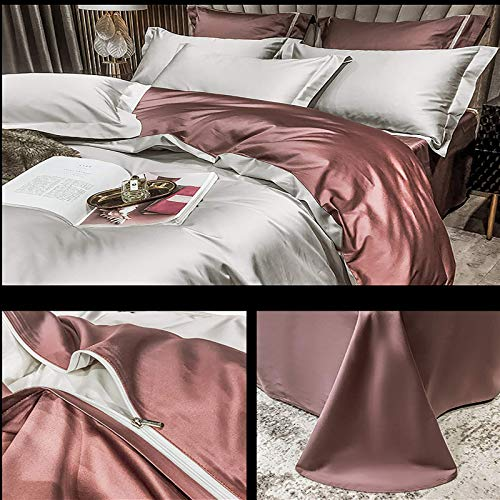 FTFTO Household Products Cotton Bed Set Four Piece Two Color Stitching Duvet Cover Winter Warm Bedding Satin Solid Color Bed Sheets Duvet Cover Pillowcase Brown 6.5ft