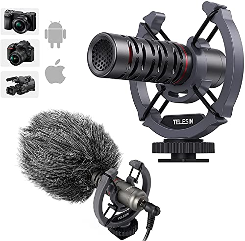 TELESINN Universal On Camera Video Microphone, External Mic Shotgun for DLSR, IPhone, Andriod, Smartphone, Vlogging, Canon/Nikon/Sony Camera Camcorder