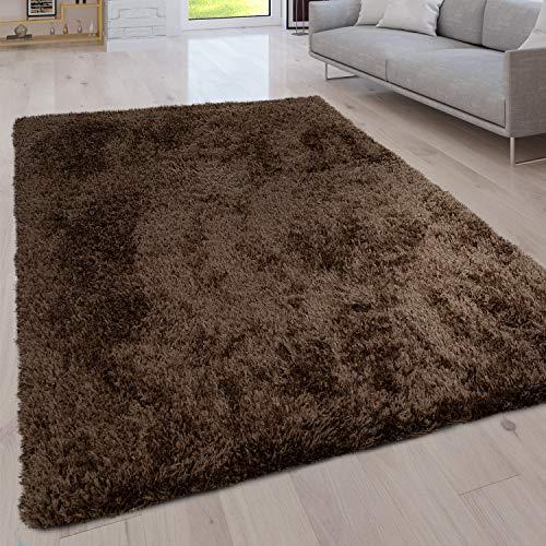 Paco Home Hochflor Wohnzimmer Teppich Waschbar Shaggy Uni In Versch. Größen u. Farben, Grösse:120x160 cm, Farbe:Braun
