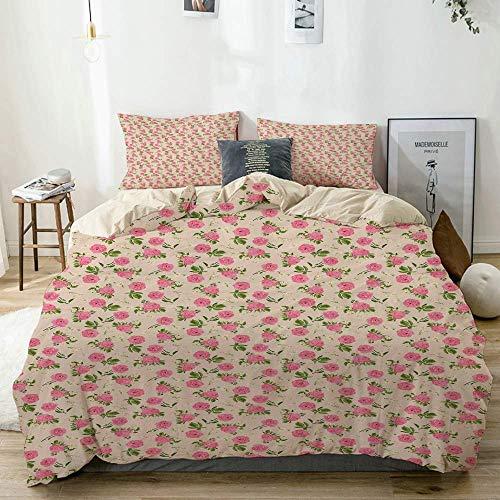 Set copripiumino beige, fiori primaverili vintage giardino inglese a tema con rose e margherite su beige, set di biancheria da letto decorativo in 3 pezzi Super King Size con 2 fodere per cuscino Smoo