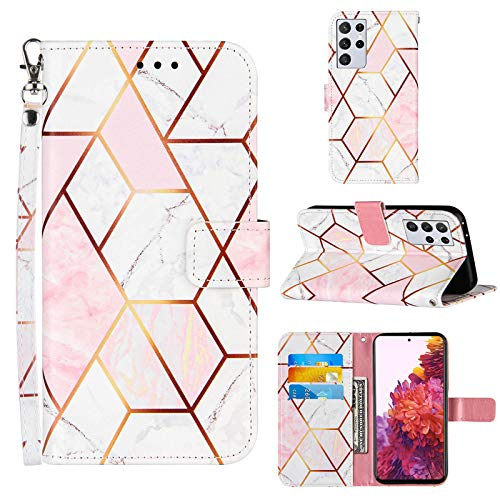 S21 Ultra Phone Case Wallet,for Galaxy S21 Ultra Case,[Stand Feature][Wrist Strap][Credit Cards Holder] 2021 Marble Pattern PU Leather Flip Protective Cover for Samsung S21 Ultra Case (Pink/White)