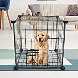 SALE & CLEARANCE Pet Playpen Dog Cat Kennel, 13.8''x13.8'' Heavy Duty Foldable Pet Exercise Cage Fence 6 Panel for Dogs Cat Puppy Pet Indoor Outdoor Playpens Exercise 【US Fast Shipment】 (Black)