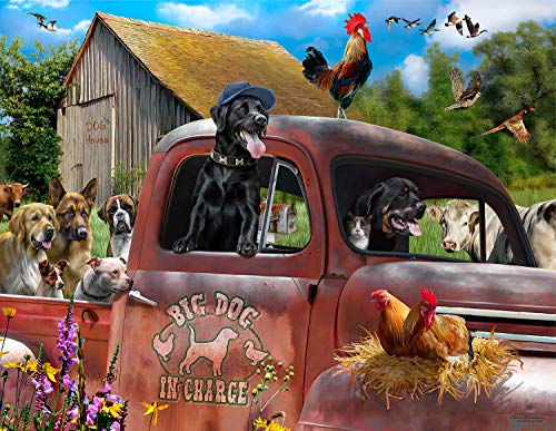 Big Dog in Charge 1000 pc Oversized Pieces Jigsaw Puzzle by SUNSOUT INC