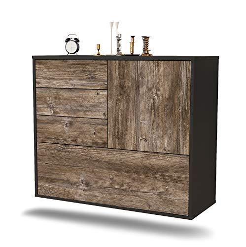 Dekati dressoir Fontana hangend (92x77x35cm) Corpus antraciet mat | Front Hout Design | Push-to-Open modern drijfhout.