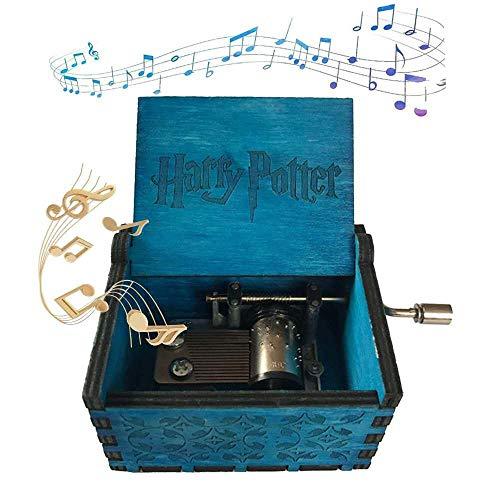 XIAOLUO Kreative handgekurbelte Spieluhraushölzernem Kunsthandwerkfür denblauen Harry Potterzum Gedenken an die Geburtstagsfeier