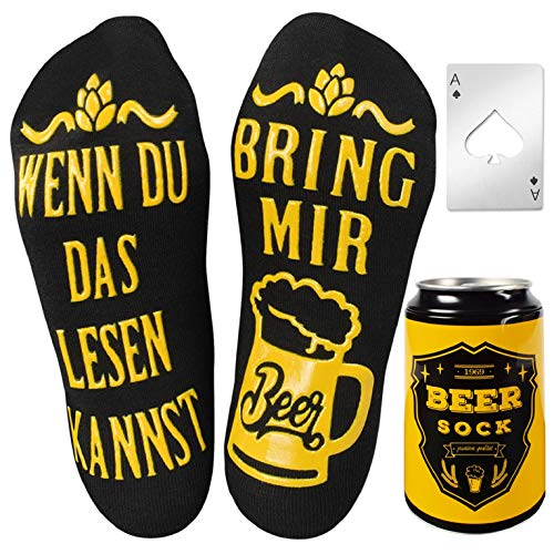 UMIPUBO Bier Socken Lustige Socken WENN DU DAS LESEN KANNST BRING MIR BEER Fun Socken Wintersocken Knöchel Socken Lustiges Geburtstagsgeschenk für Männer (Schwarz-Deutsche mit Flaschenöffner)