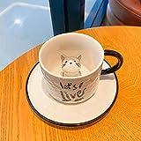 Tazza Ceramica Mug Set Di Tazze Da Caffè In Ceramica Per Gatti Tazza Con Impugnatura Per Animali Con Vassoio Bicchieri Creativi Tazze Da Tè E Caffè Novità Tazza Da Colazione Al Latte