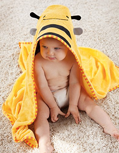 Skip Hop Zoo Baby Infant and Toddler Soft Cotton Hooded Bath Towel and Mitt Washcloth Set, Two Pieces, Multi, Brooklyn Bee