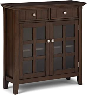 Simpli Home AXWELL3-13NAB Acadian Solid Wood 36 inch Wide Rustic Entryway Storage Cabinet in Natural Aged Brown