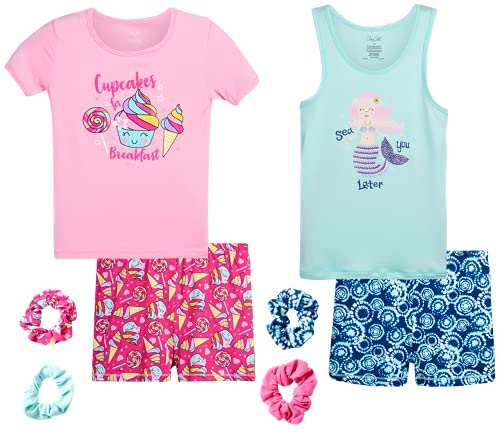 Rene Rofe Girls' Pajama Set - 4 Piece Super Soft Yummy Bike Shorts, Short Sleeve T-Shirt, and Tank Top Sleepwear Set (Big Girl), Size 10, Pink Cupcake/Blue Mermaid