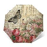 Vintage mariposas Automático Tri-Fold Paraguas Proteger Protector Solar Resistente a prueba de viento Impreso Ligero Paraguas Para Niña Senderismo Exterior Impresión, Impresión exterior, Taille unique