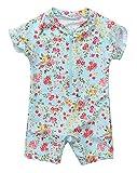 ALove Baby One Piece Zipper Rashguard Beach Floral Swimsuit Swimwear 3T