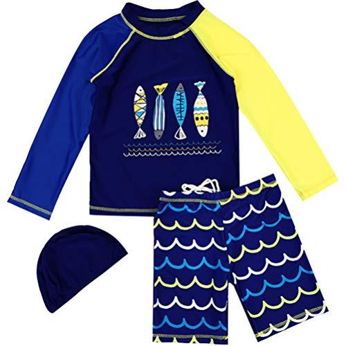 Conjunto de roupa de banho infantil KESYOO com duas peças e manga comprida para bebês, roupa de banho Rash Guards e chapéu azul escuro tamanho 6