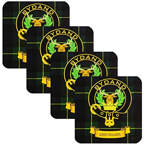 I Luv LTD Gordon Highlanders Square Untersetzer Scottish Clan Crest 4er-Set aus Schottland