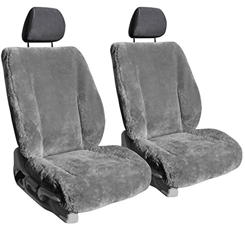 Front Seats: ShearComfort Custom Sheepskin Seat Covers for Ford F250 (2017-2021) in Medium Gray for 40s Only (40/20/40 Seat)